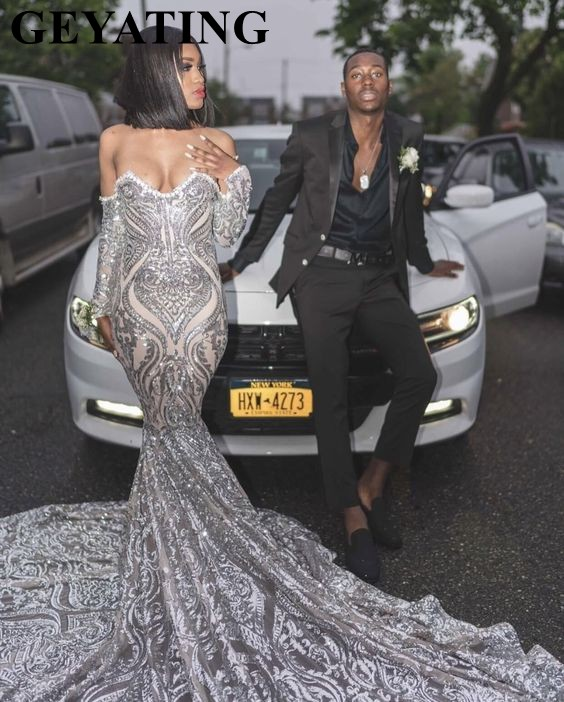 US $189.6 20% OFF|Luxury Silver Sequined Long Sleeve Mermaid Prom Dress for  Black Girls Plus Size Court Train African Evening Formal Dresses 2019-in ...
