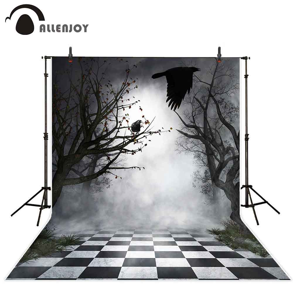 Allenjoy photophone backdrops Halloween Night fog tree bird horror lattice floor grass photography backgrounds photocall props in Background from Consumer Electronics
