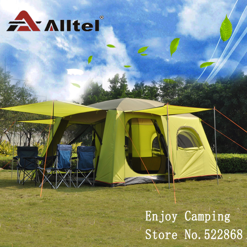 Alltel one hall two bedroom ultralarge super strong waterproof double layer with mosquito net large family camping tent