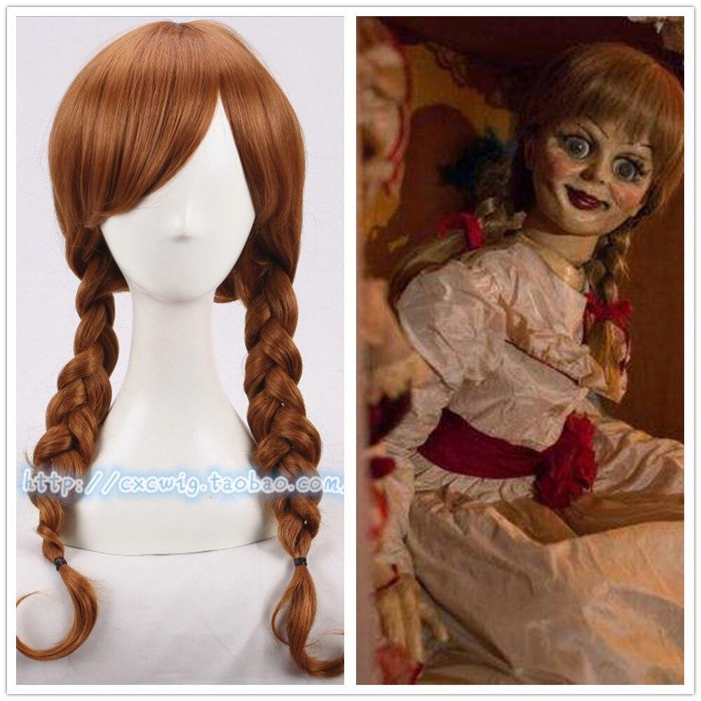 Doll Annabelle Cosplay Wig Costume Headwear Halloween Wig Hair The Conjuring Cosplay Girl Headwear