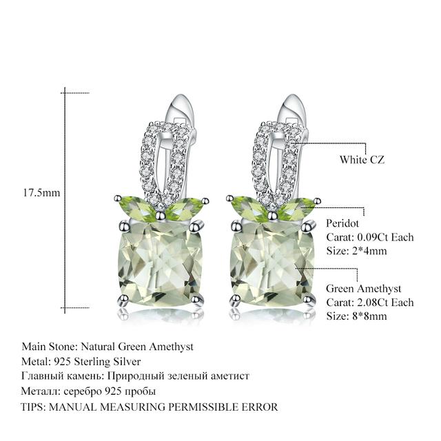 GEM'S BALLET 4.16Ct Natural Green Amethyst Gemstone Earrings 925 Sterling Silver Stud Earrings for Women Wedding Fine Jewelry
