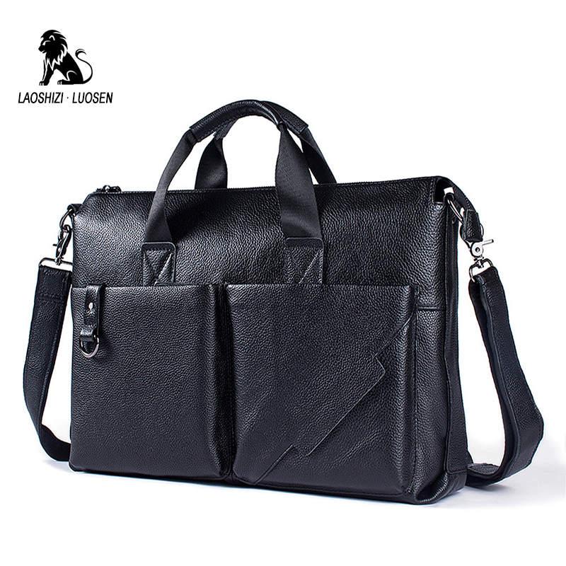 De Messenger 2018 Porte Pouces Sacs Cuir 14 Laoshizi documents Sac Luo Messager Voyage En Bandoulière D'affaires Black D'épaule Hommes Laptop CpxBzwq