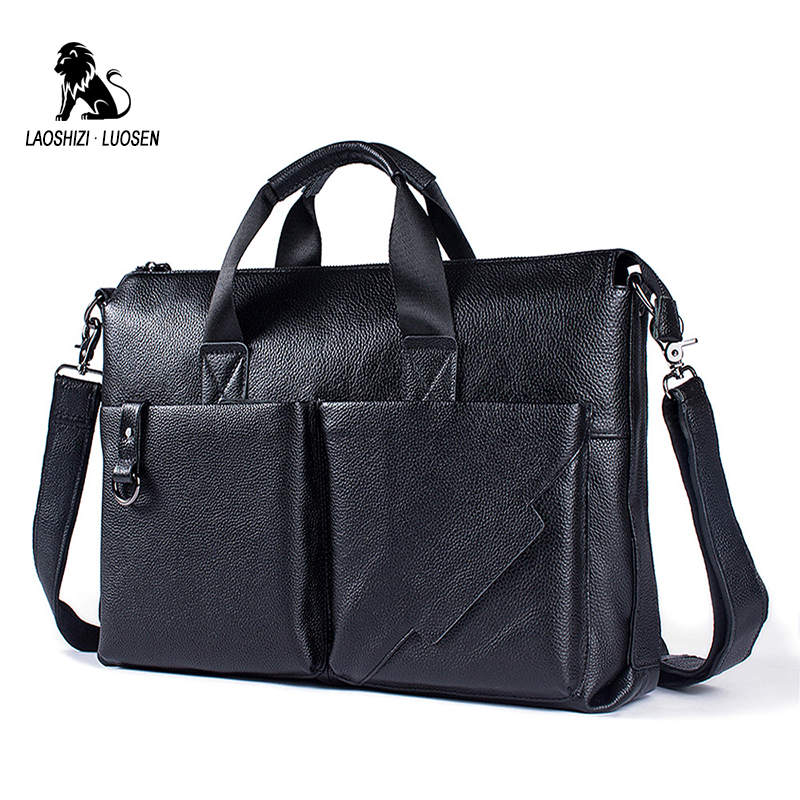 LAOSHIZI LUO 2018 Men Business Shoulder Leather Briefcase Messenger Bags 14inch Laptop Messenger Bag Men's Travel Crossbody Bags