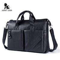 LAOSHIZI LUO 2018 Men Business Shoulder Leather Briefcase Messenger Bags 14inch Laptop Messenger Bag Men's Travel Crossbody Bags