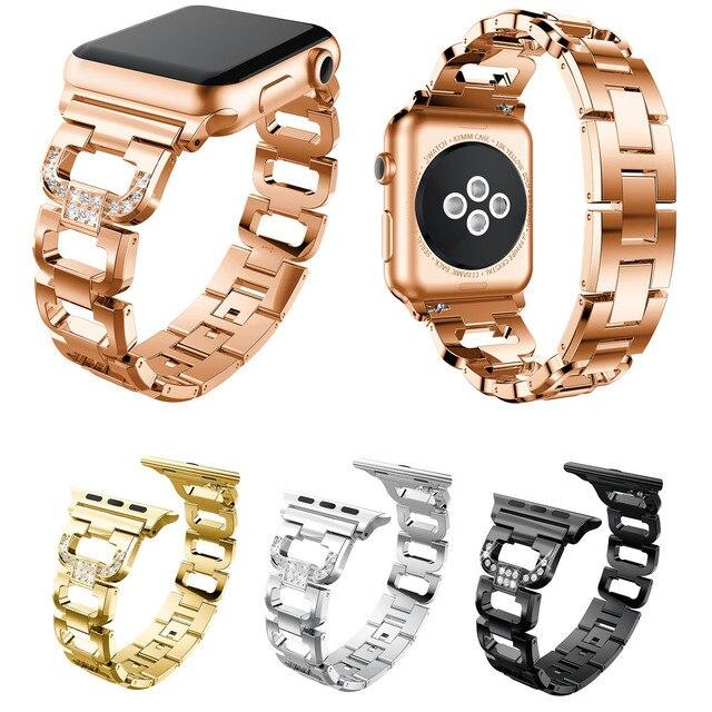 Женские часы ремешок для мм Apple Watch полосы 38 мм 42 мм 40 мм 44 мм Алмазный ремешок из нержавеющей стали для iWatch серии 4 3 2 1 браслет ремень