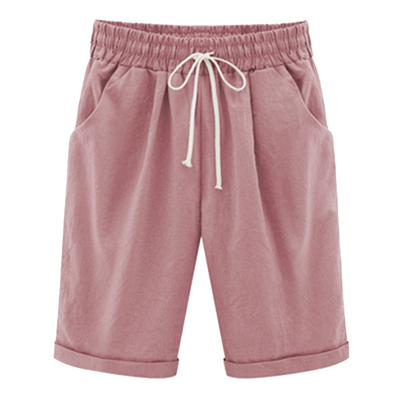 LASPERAL Casual Shorts Loose Comfortable Knee-Length Plus-Size Summer Pocket Trouses