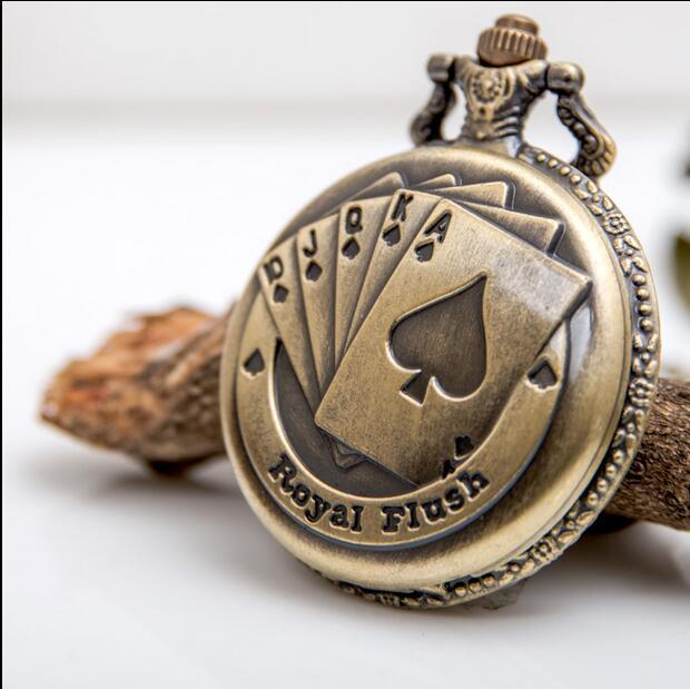 Wholesale 1 PCS Send Box Vintage Large Size Playing CARDS Quartz Bronze Necklace Pocket Watches