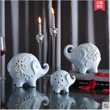 3pc creative ceramic elephant family home decor crafts room decoration kawaii ornament porcelain animal figurines