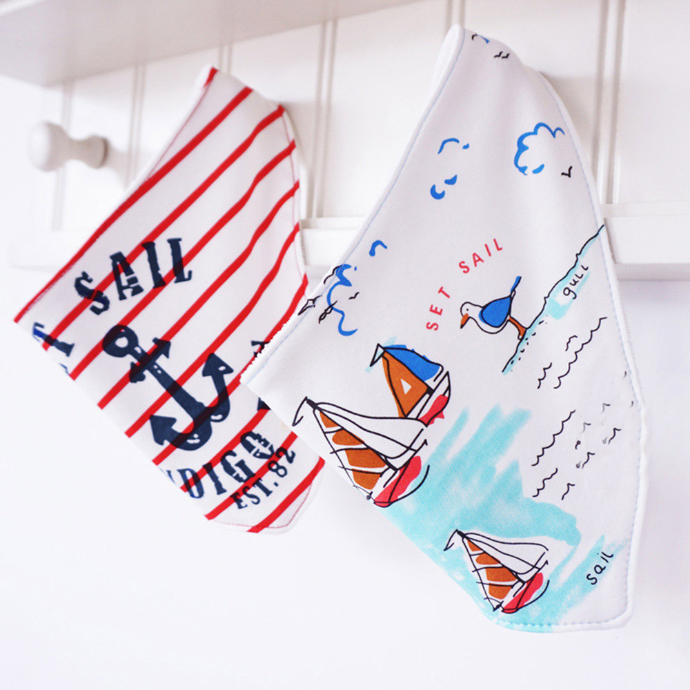 2Pcs/Lot Cute Cartoon Printed Letters Baby Bibs Newborn Cotton Soft Triangle Scarf Bib Saliva Towel Toddler Burp Clothes 2 layers newborn cartoon colorful baby boy girl bibs infant soft cotton toddler animal burp cloth waterproof saliva scarf towel