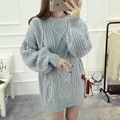 H.SA 2017 Women Pullover Jumpers Oneck Lantern Sleeve Sweater Dresses Sexy Mini Sweater Dress Twisted Oversized Sweater burderry