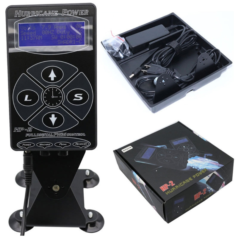 Professional HP 2 Tattoo Power Supply Intelligent LCD Display Machines Tools Set