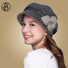 FS Women Autumn Winter Beret Hat Wool Felt Hats Octagonal Cap Flower Elegant Ladies French Casual Warm Lady Berets