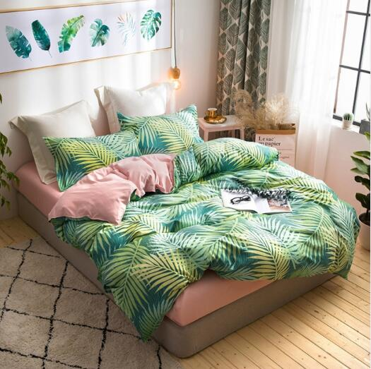 Flamingo Bedding Sets 3/4pcs Geometric Pattern Bed Linings Duvet Cover Bed Sheet Pillowcases Cover Set