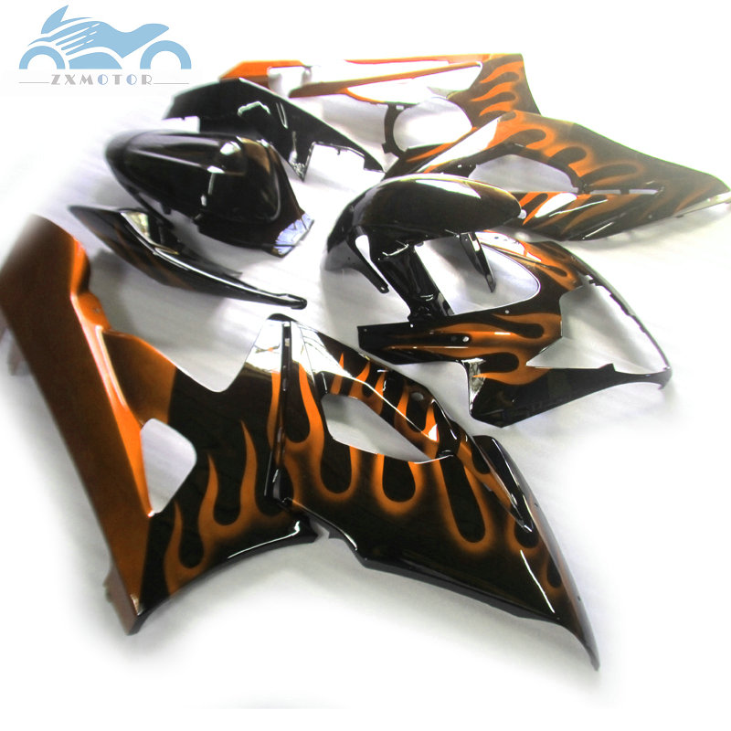 Customized <font><b>Fairing</b></font> kit for <font><b>Suzuki</b></font> GSXR 1000 K5 <font><b>K6</b></font> <font><b>GSXR1000</b></font> 2005 2006 motor sport <font><b>fairings</b></font> GSX R1000 05 06 orange flames AT55 image
