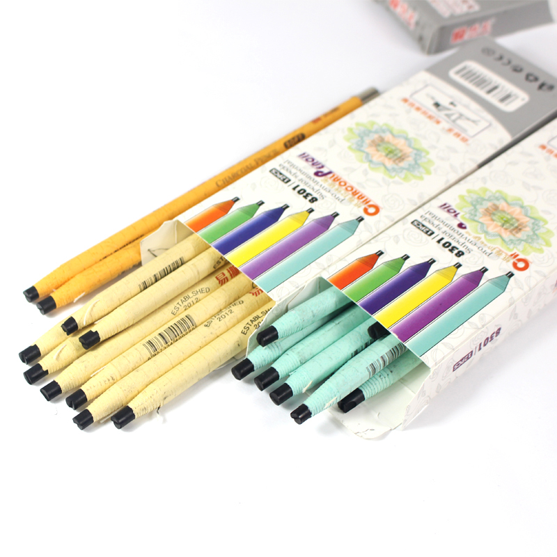 12pcs/set Profession Sketching Drawing Artist Pencil Pull line Paper Charcoal Pencils Painting Stationery Gifts Soft Pens