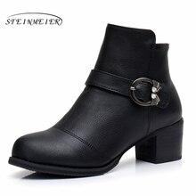 купить Genuine Leather Ankle Boots Comfortable quality soft Shoes Brand Designer Handmade with fur 2017 black US 9.5 онлайн