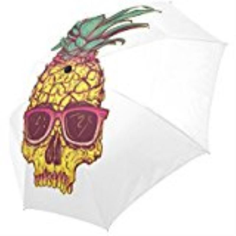 Pineapple Skull Custom Printing Foldable Sun Rain Travel Umbrella 100% Fabric Aluminium High-Quality Foldable Umbrella
