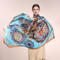 AA01809  wholesale European fashion women scarves  digital Printing Shawl Statin Silk Scarf