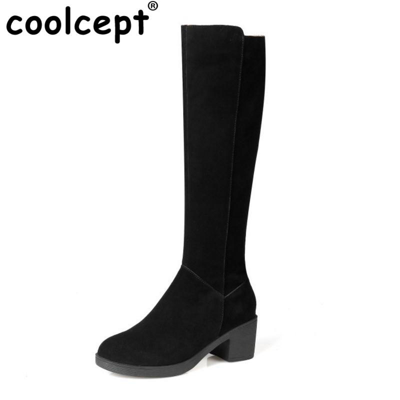 Coolcept Ladies Genuine Leather Wedges Boots Platform Cross Strap Round Toe Thick Bottoms Boot Warm Winter Daily Bota Size 34-39