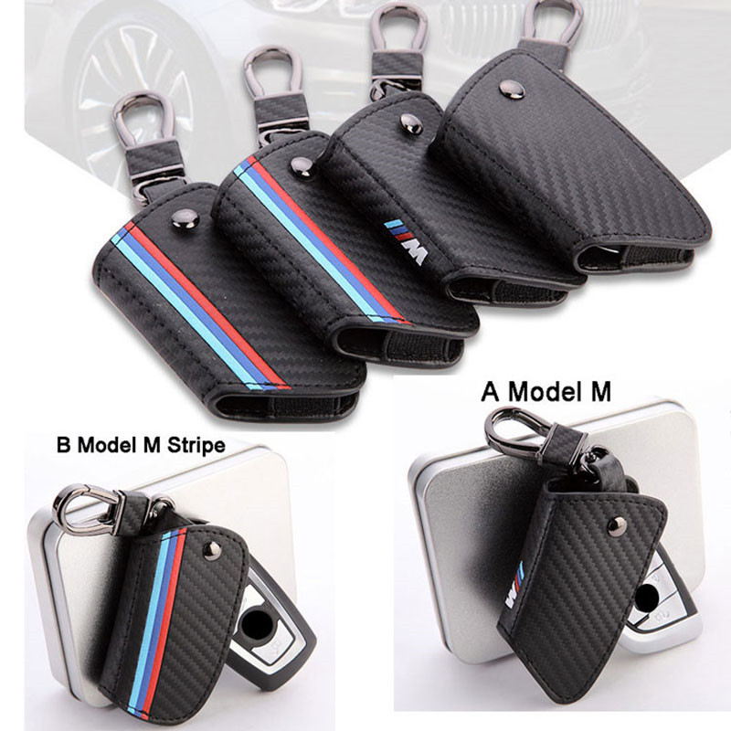 Carbon fiber leather Smart Remote Key Case Cover Holder Key Chain Cover Remote For BMW 1