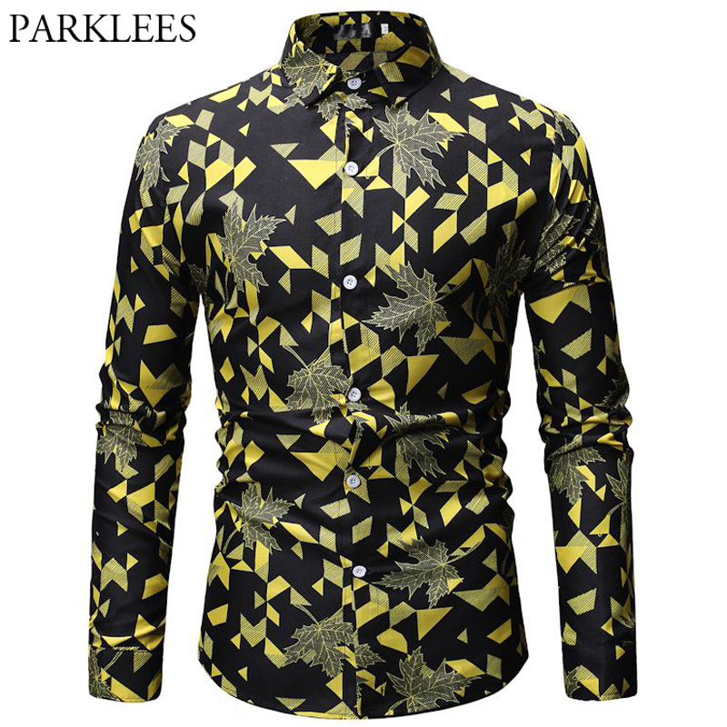 Yellow Geometric Leaves Print Shirt Men 2019 Brand Long Sleeve Male Black Dress Shirts Casual Holiday Party Chemise Homme Top 3X