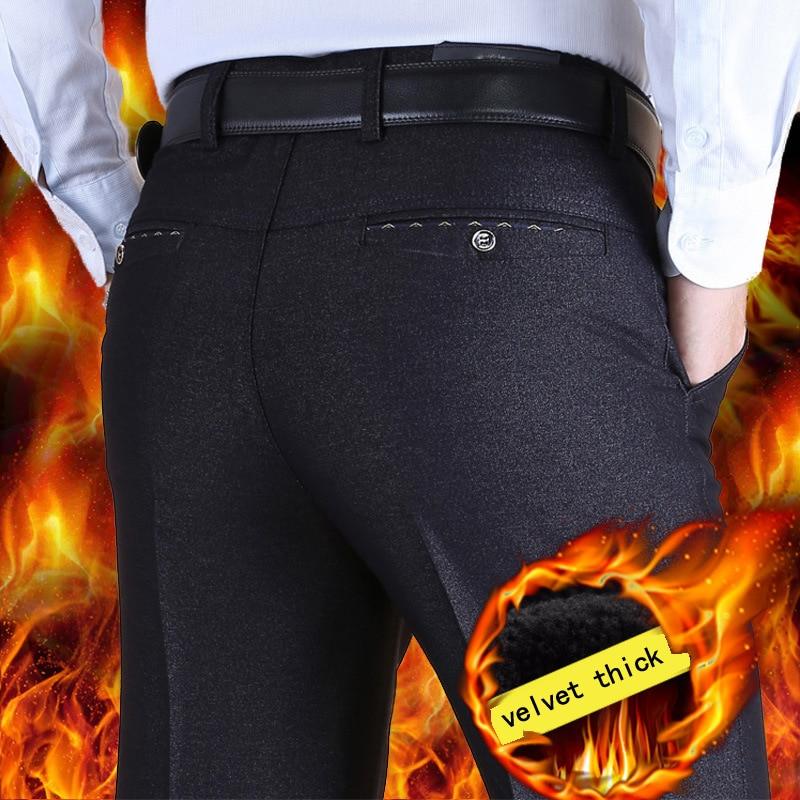 199f3712589 Middle aged mens casual pants autumn winter models plus velvet thick suit  pants male loose winter