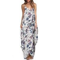 2017 Summer Casual Women Flower Print Maxi Dress Beach Party Evening Sling Long Dresses Women Vestido