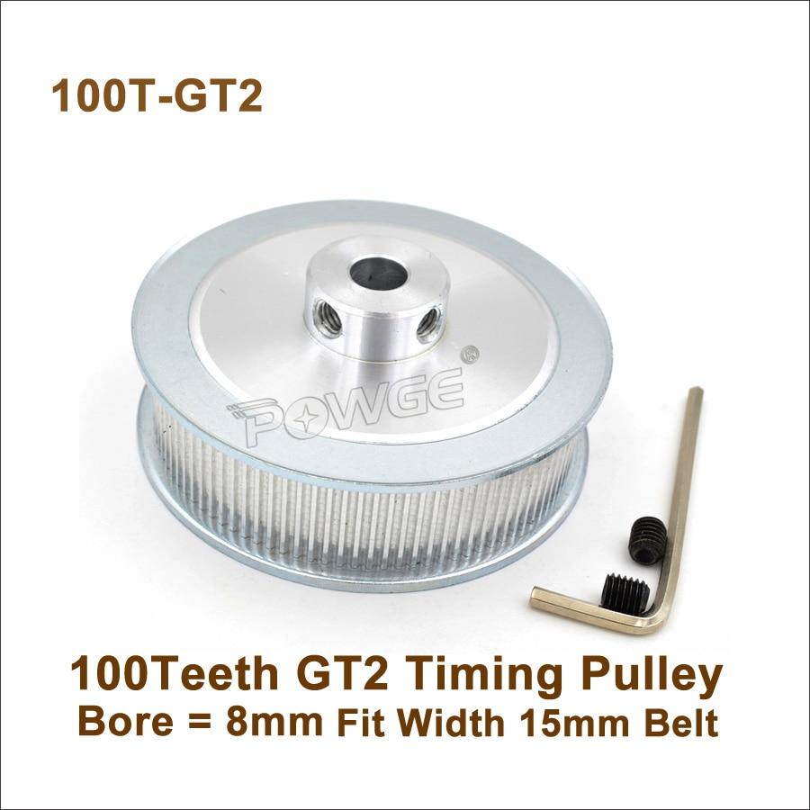POWGE 100 Teeth 2GT Timing Pulley Bore 8mm Fit Width 15mm GT2 Synchronous Belt 100Teeth 100T GT2 Timing Pulley
