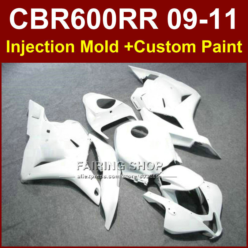 Pure white customize fairing set for HONDA CBR600RR fairing kit 2009 2010 2011 cbr600 rr ABS bodykits CBR 600 RR 09 10 11+7Gifts