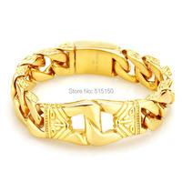 Fashion Jewellery Gold Plating Gothic Punk 100% Stainless Steel Curb Cuban Bracelets For Boys Mens