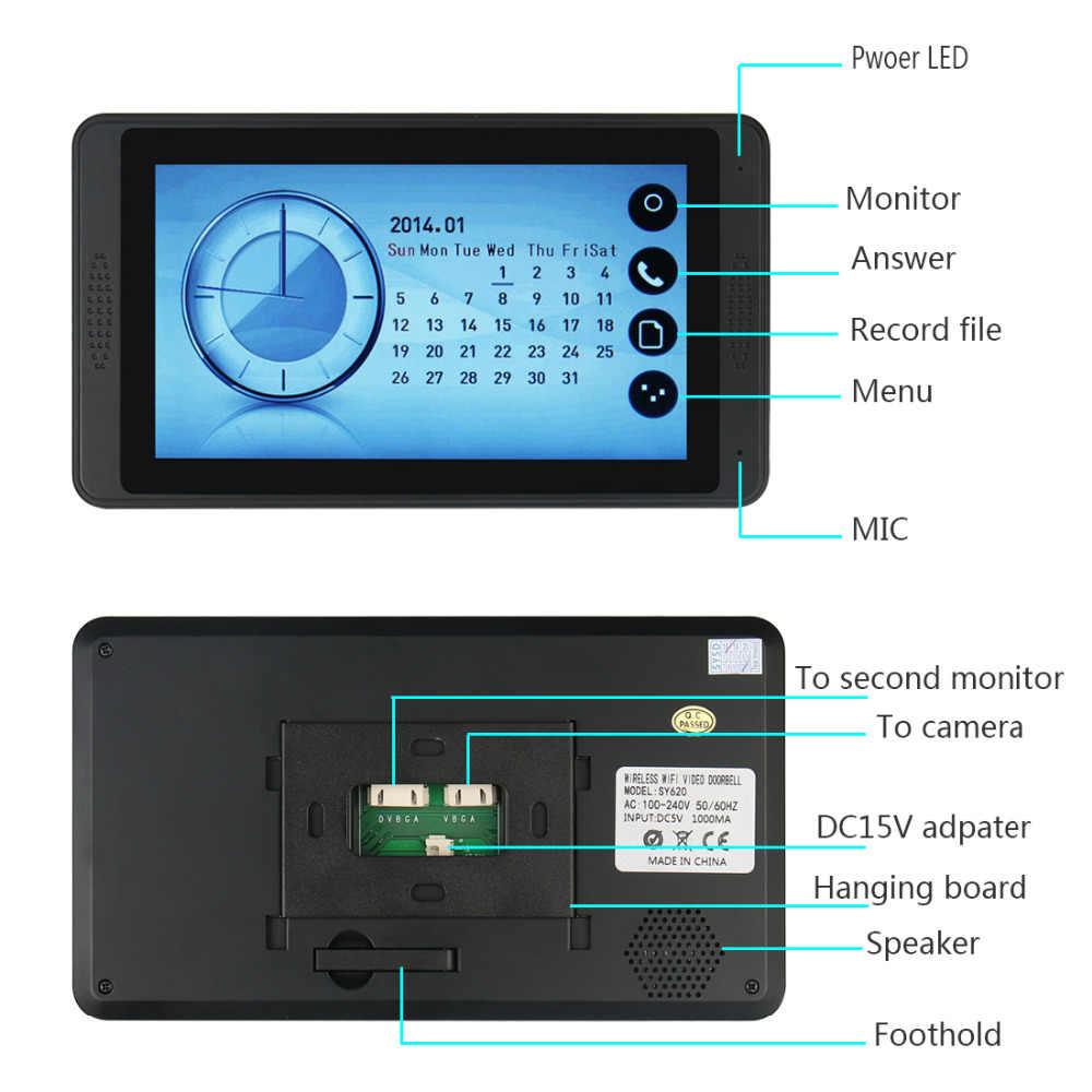 """7 """"باب الهاتف فيديو إنترفون للمنزل شاشة تعمل باللمس كاميرا مقاومة للماء الأشعة تحت الحمراء للرؤية الليلية تسجيل الفيديو تتفاعل نظام جرس الباب الفيديو"""