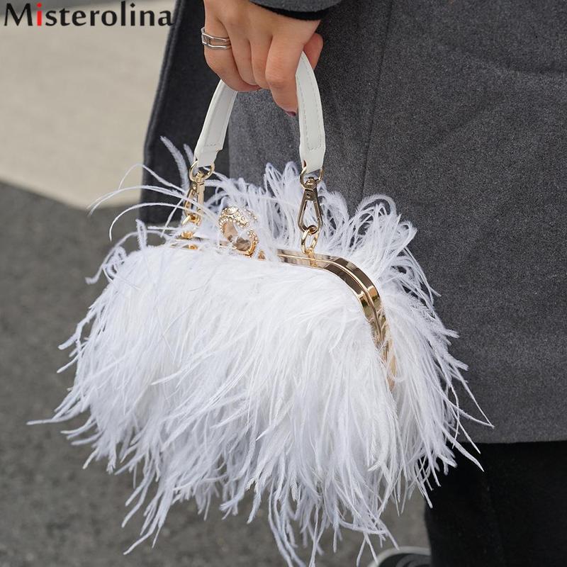 Misterolina sacs à main de luxe femmes sacs Designer soirée pochette femmes sacs chaînes Designer autruche plume H00378