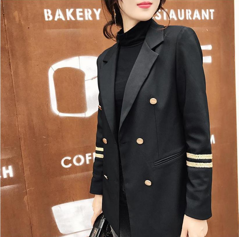 Military Style Embroidery Women Blazers 2019 Autumn Winter New Fashion Double Breasted Office Ladies OL Coats Black Jacket Gx896