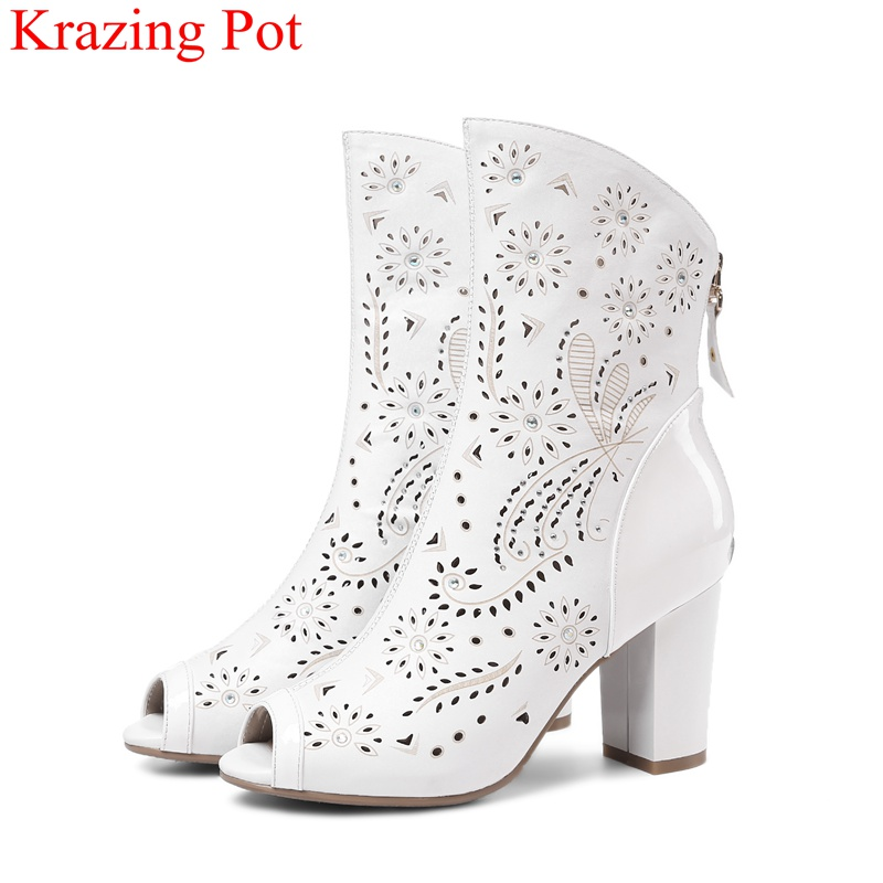 2018 new arrival brand summer boots pu square heel women boots mid-calf zipper fashion Hollow peep toe elegant crystal shoes L61 timetang new arrival candy color women high heel boots runway fashion round toe platform mid calf boots for women 7 colors