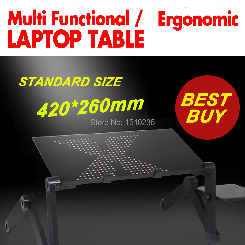 Image 3 - Multi Functional Ergonomic mobile laptop table stand for bed Portable sofa laptop table foldable notebook Desk with mouse pad-in Lapdesks from Computer & Office