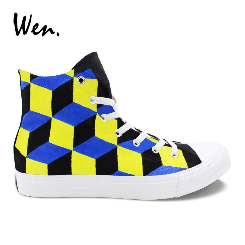 Plimsolls La High Chaussures Conception Main 3 Laçage Dimentional À Wen Toile Top Mode Peint Hommes De Femmes Stéréogramme Sneakers N0k8wOXnP