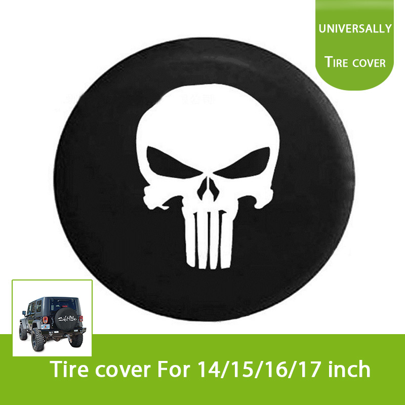 Skull Spare Wheel Tire Tyre Case Cover Protector R16 Fit For Jeep Wrangler 32 33