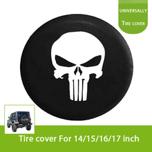 Skull Spare Wheel Tire Tyre Case Cover Protector R16 Fit For Jeep Wrangler 32″ 33″