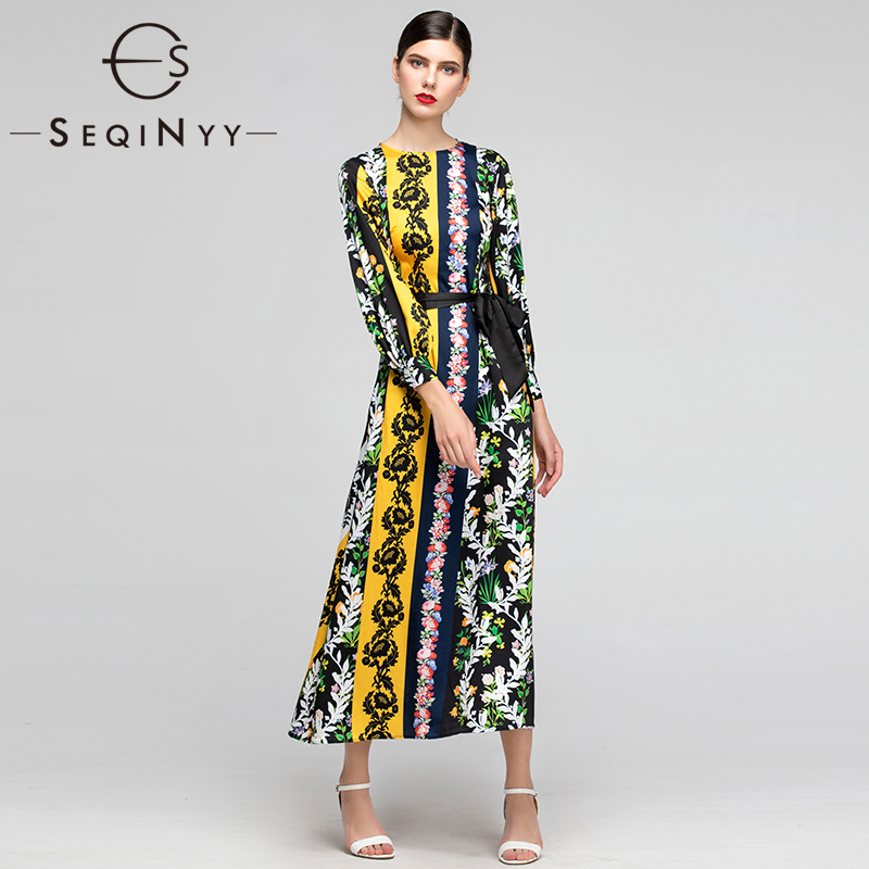 SEQINYY Elegant Long Dress 2019 Summer New Fashion Design 3 4 Sleeve Flowers Printed Stripes Long