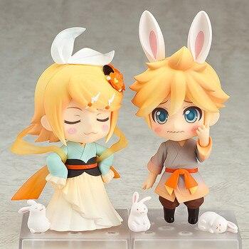 10cm Nendoroid Action Figure VOCALOID Hatsune Miku 768 Kagamine Rin 769 Ren Len Harvest Moon Ver PVC for children Toy ( China Version )