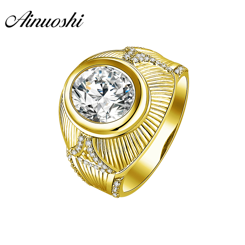 AINUOSHI Luxury 14K Solid Yellow Gold Ring Wide Wedding Band 4CT Oval Cut Brilliant SONA Diamond Band For Mens Wedding JewelryAINUOSHI Luxury 14K Solid Yellow Gold Ring Wide Wedding Band 4CT Oval Cut Brilliant SONA Diamond Band For Mens Wedding Jewelry
