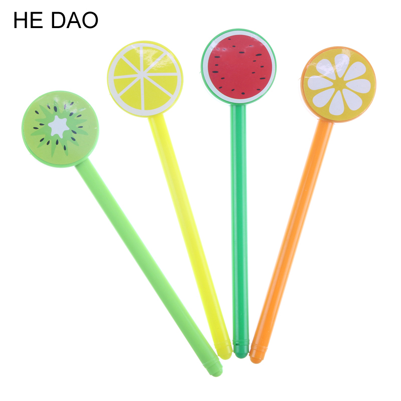 2017 Cute Fruit Lollipops Gel Pens For Writing  0.5mm Black Sign Pen Students Stationery Office School Supplies