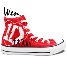 Wen Design Custom Hand Painted Shoes One Direction Men Women's Red High Top Canvas Sneakers for Gifts