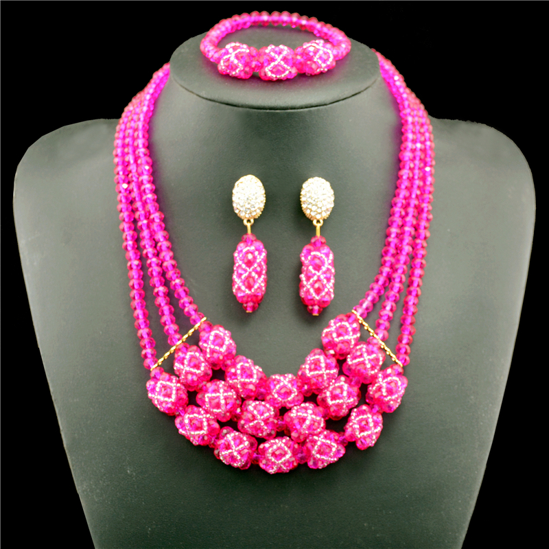 2017 Trendy Rose Crystals Nigerian Wedding African Beads Vintage Jewelry Set Indian Design Necklace For Women2017 Trendy Rose Crystals Nigerian Wedding African Beads Vintage Jewelry Set Indian Design Necklace For Women