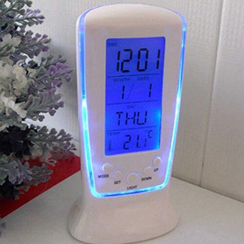 Новый из светодиодов цифровой будильник с голубой подсветкой электронный календарем термометр 4RF
