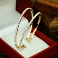 2016 New Fashion 90mm Big Rhinestone Circle Earrings Big Circle Gold Silver Plated Hoop Earrings for Women Christmas Gift