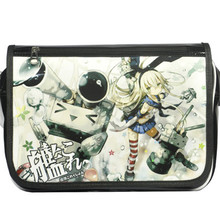 New Kantai Collection patent leather Shoulder Bag Cartoon Cosplay Lolita Unisex Printing Messenger School Bag Free