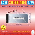 [L238] 3.7V,5000mAH,[3565150]  PLIB; polymer lithium ion / Li-ion battery for tablet pc,power bank,e-book
