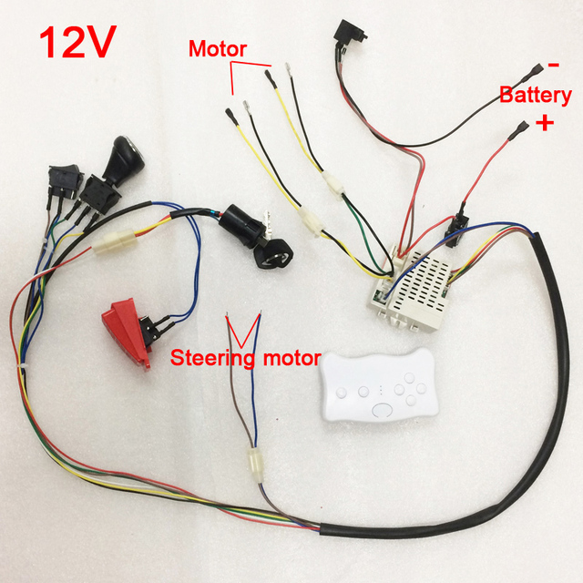Children electric car DIY modified wires and switch kit,with 2.4G ...