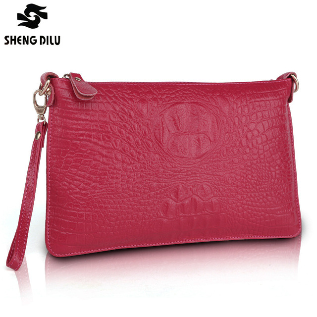 shengdilu brand new 2017 women 100% genuine leather Day Clutches bag High-end tote shoulder Messenger bag free Shipping